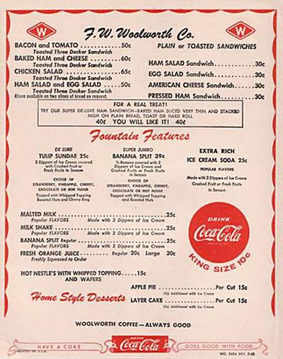 woolworth menu