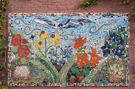 fairfield iowa mosaic, karla christensen, fairfield iowa arts