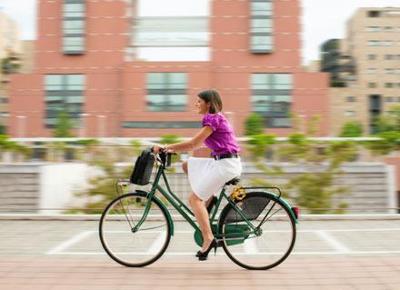 girl riding bike, commute to work, bike commute