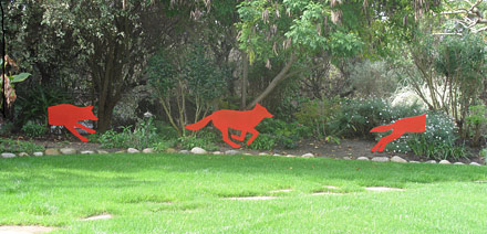 red coyote, sue berkey, art along the trails
