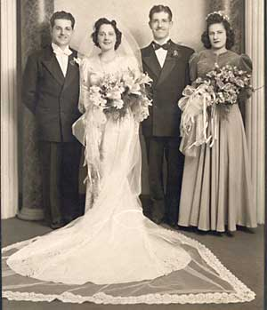 dominic and genevieve fusco, fusco wedding, 1942 wedding